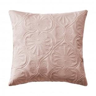 Púdrovo ružová obliečka na dekoračný vankúš s kvetinovým motívom