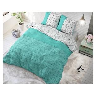 Tyrkysovo sivé posteľné obliečky s geometrickým vzorom
