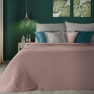 Ružový dekoračný prehoz na posteľ s prešívaním