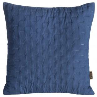 Modrá obliečka na dekoračný vankúš s prešívaním