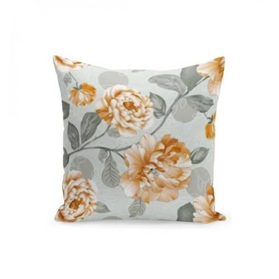Sivo béžová obliečka na vankúš s kvetinovým motívom