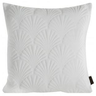 Biela zamatová obliečka na dekoračný vankúš so vzorom