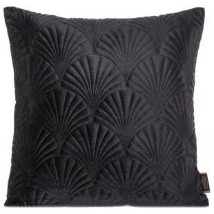 Čierna zamatová obliečka na dekoračný vankúš so vzorom