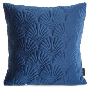 Modrá zamatová obliečka na dekoračný vankúš so vzorom