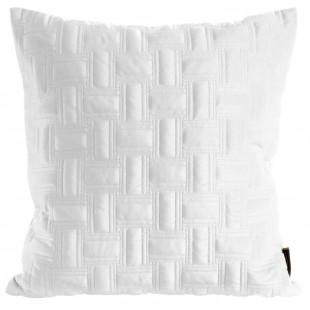Biela zamatová obliečka na dekoračný vankúš s krásnym motívom