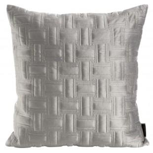 Sivá zamatová obliečka na dekoračný vankúš s krásnym motívom