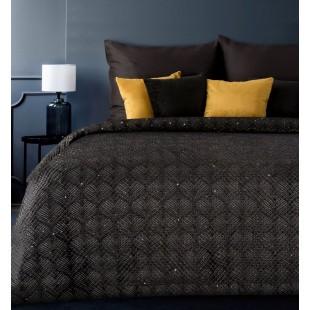 Čierny zamatový prehoz na posteľ so vzorom