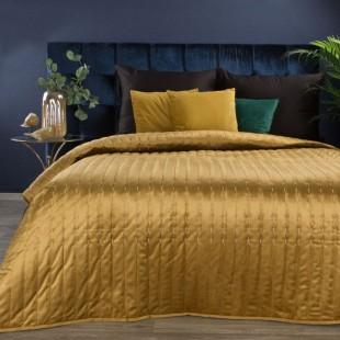 Žltý zamatový prehoz na posteľ s prešívaním