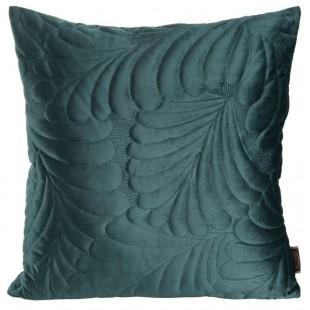Zamatová tyrkysová obliečka na dekoračný vankúšik so vzorom