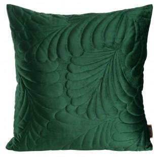 Zelená zamatová obliečka na dekoračný vankúšik so vzorom