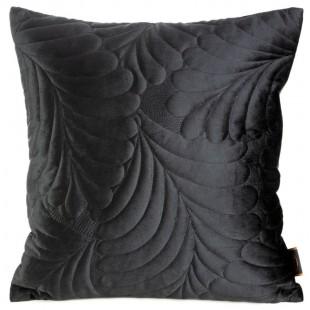 Čierna zamatová obliečka na dekoračný vankúšik so vzorom