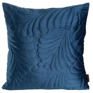 Modrá zamatová obliečka na dekoračný vankúšik so vzorom