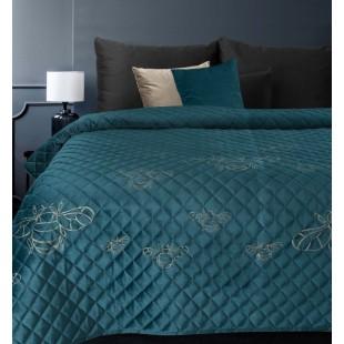 Tyrkysový zamatový prehoz na posteľ so vzormi