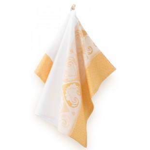 Bielo-oranžová bavlnená kuchynská utierka so srdiečkami