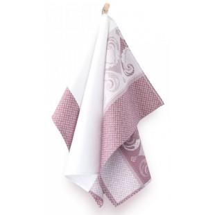 Bielo-ružová bavlnená kuchynská utierka so vzorom