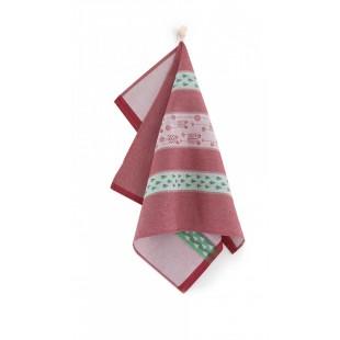 Červená bavlnená kuchynská utierka s vianočným motívom