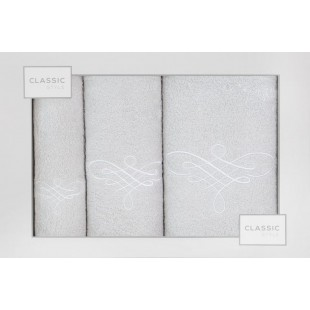 Sada 3 sivých bavlnených ručníkov so vzorom