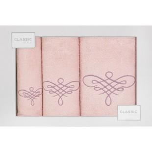 Sada 3 ružových bavlnených ručníkov