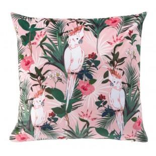 Ružová obliečka na dekoračný vankúš s motívom papagájov