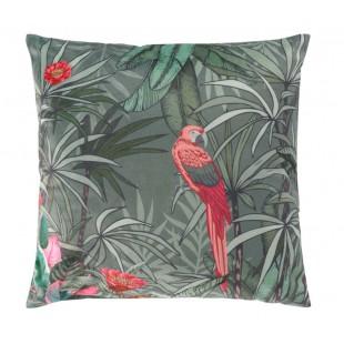Tmavozelená zamatová obliečka na dekoračný vankúš s motívom papagájov