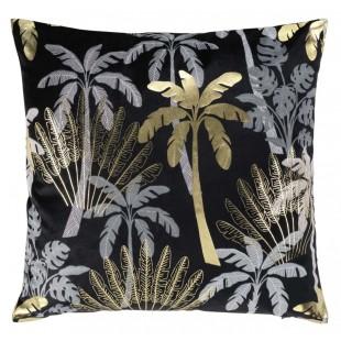 Zamatová čierna obliečka so zlatými palmami