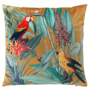 Oranžová dekoračná obliečka s papagájmi