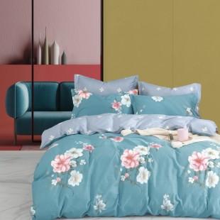 Zeleno-sivá obojstranná posteľná obliečka zo saténovej bavlny s kvetinovým motívom