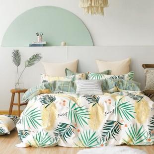 Biela obojstranná posteľná obliečka zo saténovej bavlny s rastlinným motívom