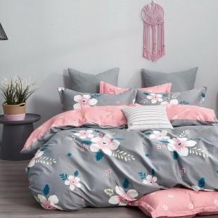 Sivo-ružová obojstranná posteľná obliečka zo saténovej bavlny