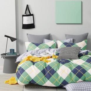 Zeleno-biela obojstranná posteľná obliečka zo saténovej bavlny