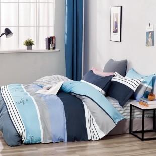Modrá obojstranná posteľná obliečka zo saténovej bavlny
