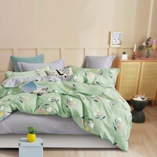 Zelená obojstranná posteľná obliečka zo saténovej bavlny