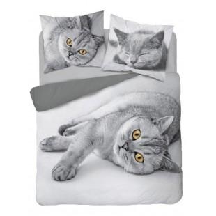 Sivá posteľná obliečka s motívom mačiatka z čistej bavlny