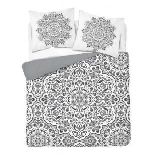 Bielo-sivá posteľná obliečka z bavlny s motívom kvetov