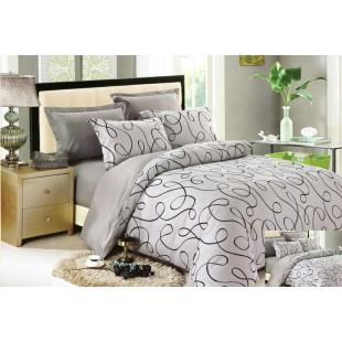 Sivá posteľná obliečka zo saténovej bavlny so vzorom