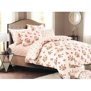 Ružová posteľná obliečka zo saténovej bavlny s kvetovaným motívom