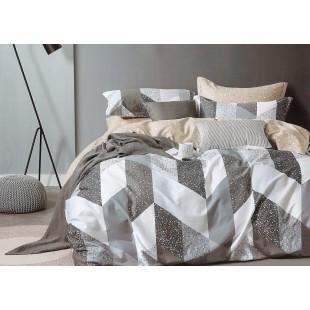 Sivá posteľná obliečka zo saténovej bavlny s cik-cak motívom