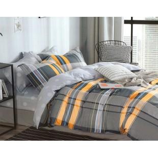 Sivo-žltá posteľná obliečka zo saténovej bavlny s pásikami