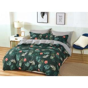 Zelená posteľná obliečka zo saténovej bavlny s rastlinným motívom