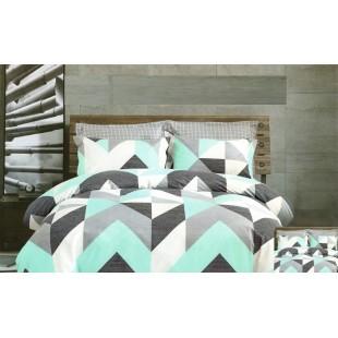 Tyrkysovo-sivá posteľná obliečka zo saténovej bavlny