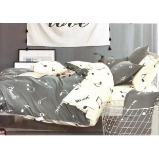 Sivo-biela posteľná obliečka zo saténovej bavlny s motívom nôt