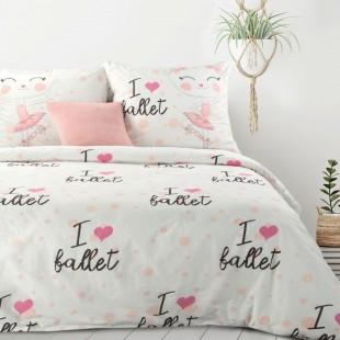 Biela bavlnená posteľná obliečka s nápisom I love ballet