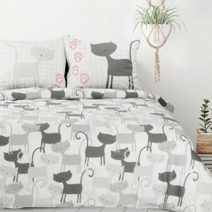 Sivá posteľná obliečka s mačacím vzorom z bavlny