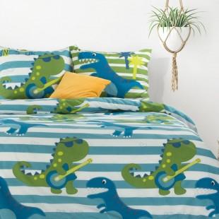 Modrá bavlnená posteľná obliečka s dráčikmi