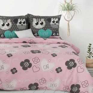 Ružové bavlnené posteľné obliečky so zvieracím motívom