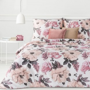 Ružovo-biela posteľná obliečka zo saténovej bavlny s kvetmi