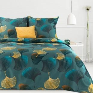 Tyrkysová posteľná obliečka zo saténovej bavlny s rastlinným motívom