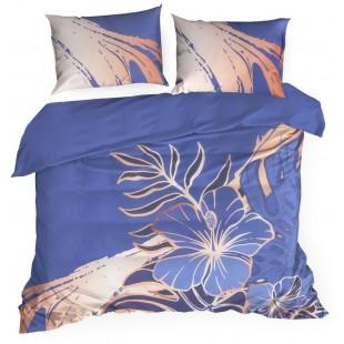 Modrá posteľná obliečka z exkluzívnej bavlny s kvetinovým motívom