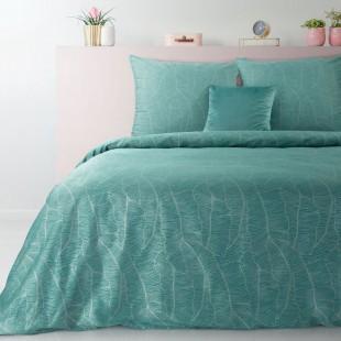 Tyrkysová posteľná obliečka zo saténovej bavlny s jemným vzorom