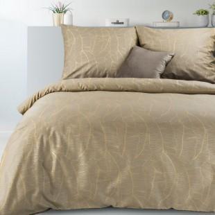 Béžová posteľná obliečka zo saténovej bavlny s jemným vzorom